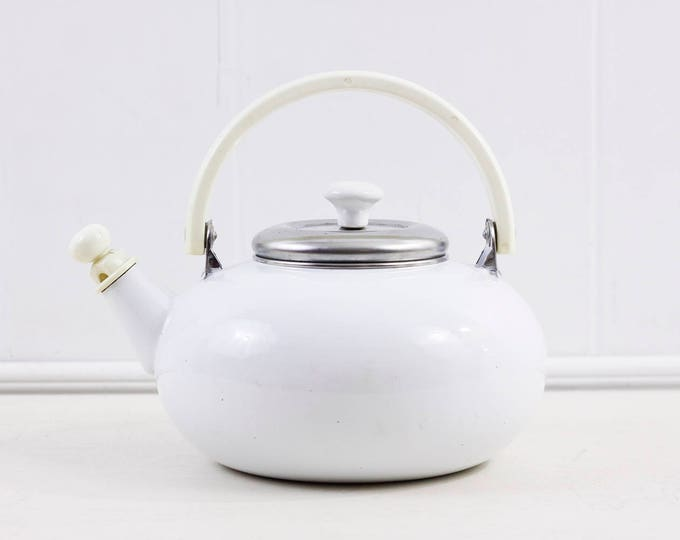 White enamel tea kettle, whistling water kettle, retro kitchenalia kettle with whistle and plastic handle ca 1950s, vintage mid century