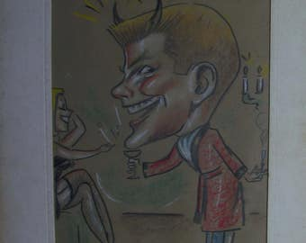 in color 1950s Caricature of a man with devil horns with lady in lingerie