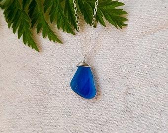 Bright Blue Multi Seaham Seaglass Necklace