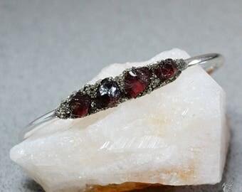 Garnet Bracelets - Raw Garnet Jewelry - January Jewelry Gifts - January Birthstone Jewelry - Silver Cuff Bracelet - Boho Chic Bracelets