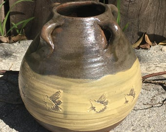 Native American Style Vase with Hummingbird stamp.