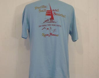 Vintage t shirts, 1970s t shirts, Hawaiian t shirt, sailboat, snorkel, Kona, vintage clothing, XL