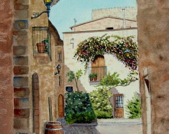Spanish village painting flowering vine original watercolor 9x11