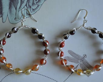 Sunny Earrings, Multi Gemstone hoop earrings. Garnet, Red Jasper, Citrine
