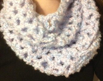 Pink and Blue Crochet Infinity Scarf