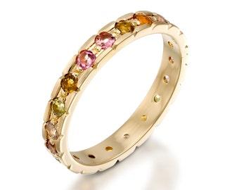 Gold gemstone ring, Gemstone ring, Gemstone wedding ring, Gemstone engagement ring, Gemstone wedding band, Eternity ring, Gold wedding band