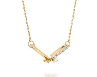 Diamond necklace, Diamond pendant necklace, Dainty gold necklace, 14k gold necklace, Diamond necklace gold, Yellow gold necklace