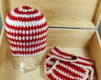 SALE Crochet newborn set- christmas newborn set- candy cane inspired newborn set-newborn photo prop- ready to ship