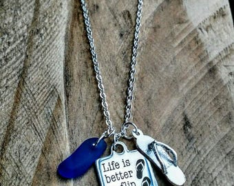 Life is better in flip flops necklace