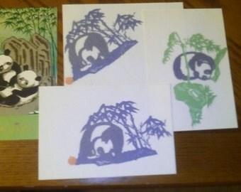 Paper Cuts Cut Outs, Chinese. (3) Pandas. Each has 2 Colors In original folder. Excellent vintage condition.