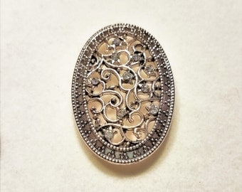 Antique Style Floral Rhinestone Brooch Pin