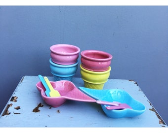 Vintage AFIBEL ice cream cone tubs and spoons