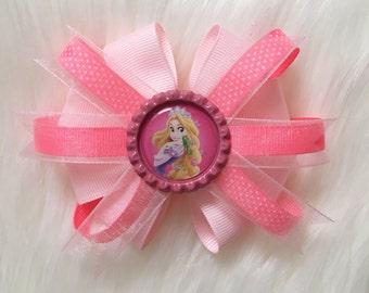 Princess hair bow/ disney princess bow/ french barrette/ tiana bow/ cinderella bow/ rapunzel bow