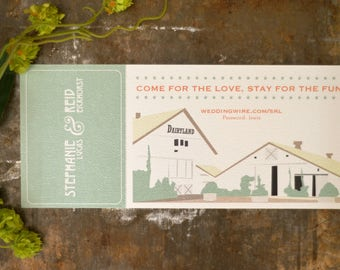 Ticket Invitation Barn Dairyland Illustrated Craftsman Wedding Invitation with Tear Off RSVP Card - BP1