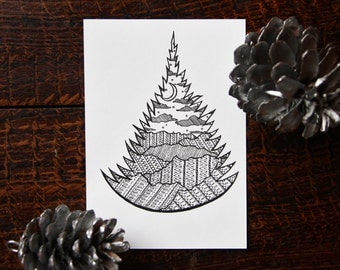 Christmas Tree from the Mountains A4 Print or 10x15cm Postcard Black & White [29]