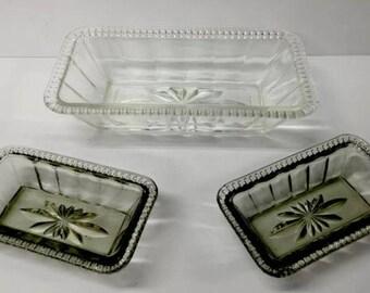 Lovely Vintage Clear Cut Oblong Celery / Pickle / Relish Pressed Glass Bowls