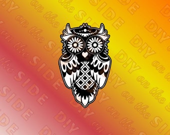SVG Cut File Sugar Skull Owl with heart nose Instant Download