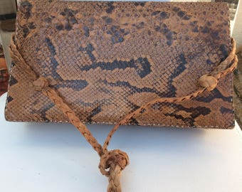 Vintage French Snakeskin Handbag with a Plaited Strap.
