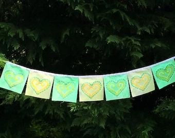 Hand painted Prayer Flags Love Heart Om Meditation Spiritual Garden Art Yoga Namaste Zen garden