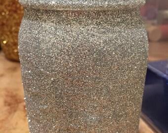 Silver glitter mason jar vase