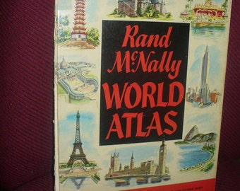 50s Rand McNally World Atlas Color 14x10 Vintage Large Map Principal Cities Populations Estate Sale My Old Book Store It will need TLC