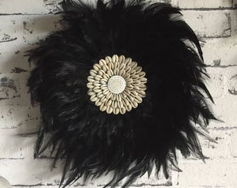 Small Black Feather & Shell Juju Hat Wall Hanging