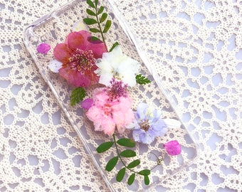 iPhone 7 plus Case Dried Pressed Flowers Case, HTC Case, iPhone 6s Case, Samsung Galaxy S7 Case, Clear Phone Case, Colorful Flowers 012