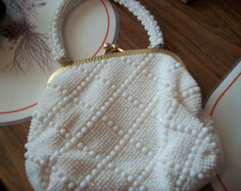 Vintage White Beaded purse with handle from Goldco in Hong Kong