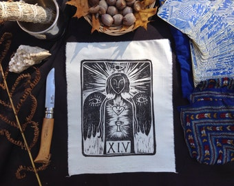 TEMPERANCE Major Arcana Tarot Card Patch - Linocut Block Print