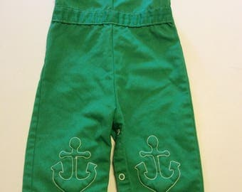 Vintage Green Baby Overalls With Anchors