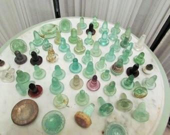 antique glass bottle stopper lot of 61 pcs