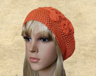 Summer cotton hats, Sun slouchy beret, Cotton suns beanie, Orange beret summer, Womens knit beret, Knitted summer hats, Women's knit beanie