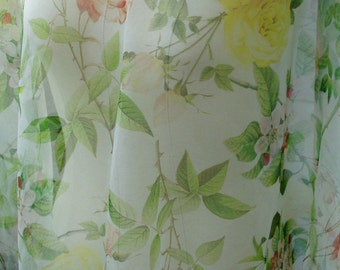 "pure silk organza fabric floral print pattern 55"" width sell by meter fashion fabric"