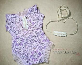 Newborn baby set , newpbornprop, photoprops, lace romper, and headband