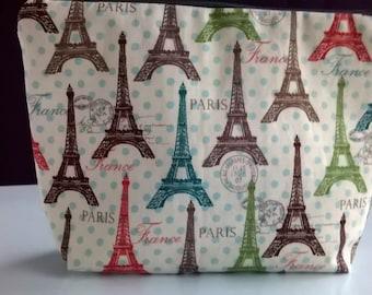 Eiffel Tower, Paris makeup bag, toiletries bag, cosmetics storage
