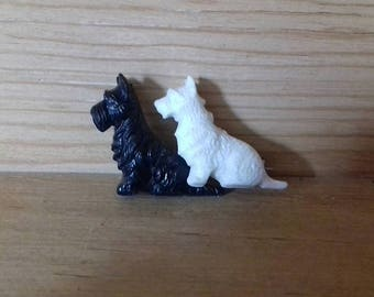Vintage Scottie Dog Brooch Black and White