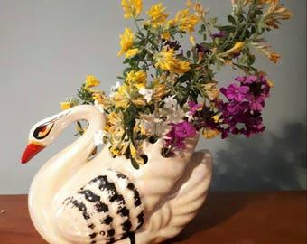 Large Vintage Swan Vase Flower Arranger Rose Bowl Lustre