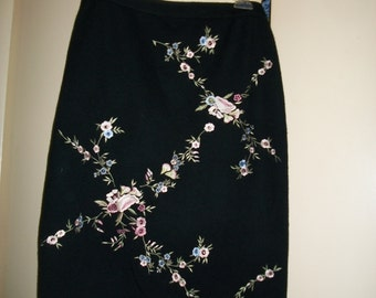 Vintage Black Wool Blend Embroidered Skirt by Lennie for Nina Leonard Size M