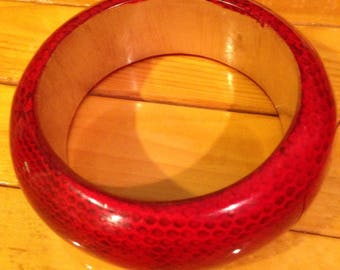 Vintage Bamboo Bangle Bracelet with Red lacquer Snake Pattern