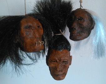 Shrunken Head Miniature Heads Replica Unique Gothic Horror Macabre OOAK Traditional Papermache Handmade South America Africa Australia