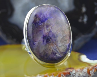 Oval purple Charoite Sterling Silver Ring size 9