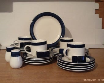 Totally Today Navy and White 26 Piece Dinnerware Set Service For 4 With Napkin Rings And Salt & Pepper Shakers