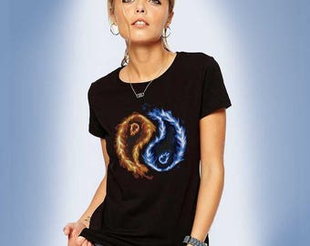 Flaming Yin Yang Symbol T-shirt