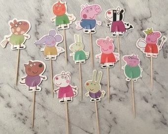 Peppa Pig Cupcake Picks Toppers Cake Decorations Kids Novelty Birthday Party Supplies