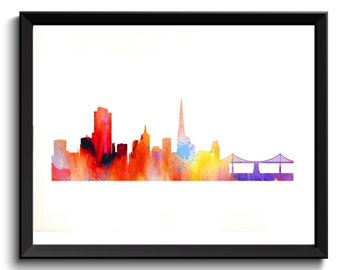 Printable San Francisco Art - SF Watercolor Art, SF Painting, San Francisco Oil Painting, California Art Print, SF Art Print