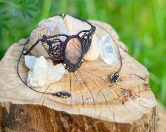 Micro Macrame Necklace with Pink Labradorite