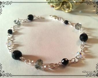 Silver chain bracelet, Black Onyx and Swarovski crystals