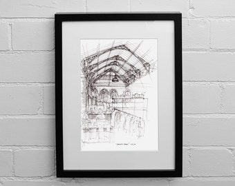 Tynemouth Market, Tynemouth, Drawing, Wall Art, Market Drawing, Sketch Print, Architectural Drawings, Illustration Print