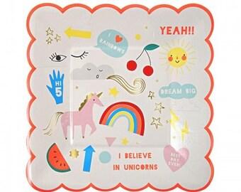 Unicorn Party Plates, Unicorn Baby Shower, Unicorn Cake Plates, Rainbow and Unicorn Party Plates