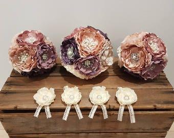 Brooch bouquet, wedding flowers, fabric bouquet, handmade, alternative bouquet, bridal flowers, satin flowers, keepsake, bridal accessorie